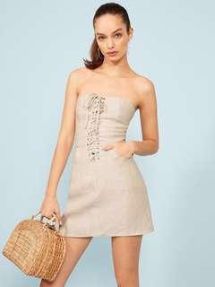 🚚 INSTOCKS Lace up a line tube dress (BEIGE)