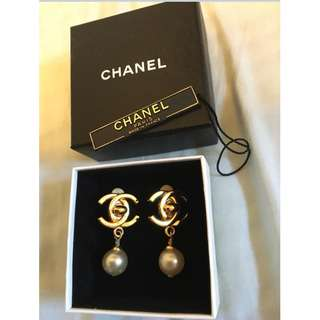 Chanel vintage 珍珠夾耳環 clip earrings -可議