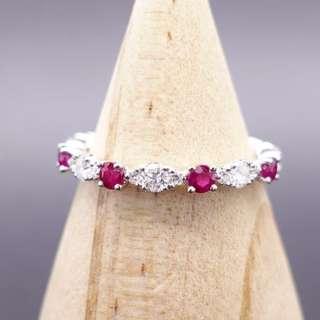 全新18K白金 52份天然紅寶石鑲52份鑽石線戒--DR6477J-63