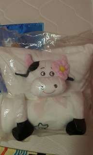 Cutie moo moo blanket with pillow