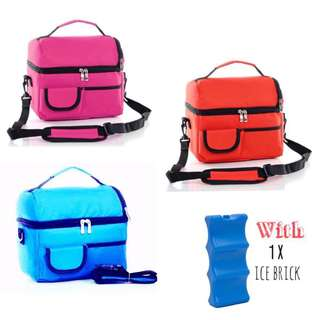 V cool double layer cooler bag with 1 pack ice brick