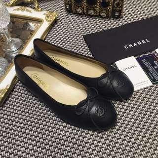 Sepatu Chanel Flat Shoes Black Mirror Quality