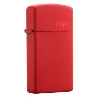 Authentic Zippo Lighter - SLIM Red Matte with ZIPPO Logo 1633ZL