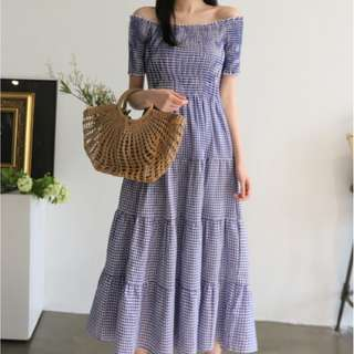 Off shoulder check long maxi dress/beach dress/casual dress/picnic dress