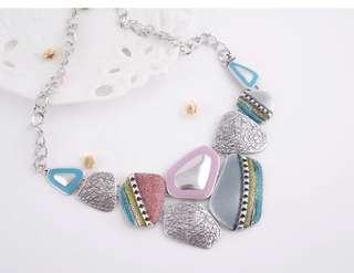 Vintage Style Colourful Geometric Pendant Necklace