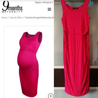 Fuchsia Draped Maternity Dress