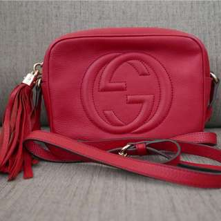 Authentic Gucci GG Soho Disco Bag Red
