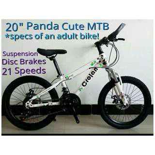 "CROLAN Panda 20"" Cute Mountain Bike for kids and Ladies ★ specs of an adult bike! : 21 Speeds, disc brakes, Front Suspension ✩ Brand New Bicycles!"