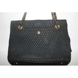 AUTHENTIC Vintage Bally Black Quilted Leather Chain Shoulder Bag Purse