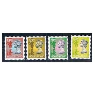 香港 1996年 通用郵票(R41A) 女皇伊利沙伯二世第六組第五版$1.4, $1.6, $2.5, $3.1全套四枚