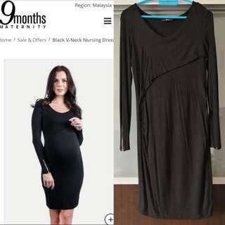 Black V-neck maternity/nursing dress
