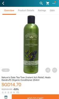 Nature's Gate Tea Tree and Blue Cypruss Conditioner