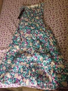Tube Floral Print Dress