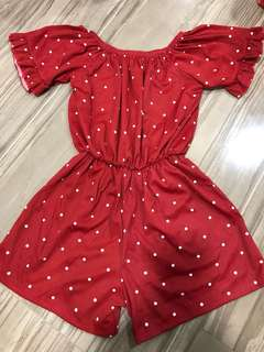 BN Polka Dots Off Shoulder Romper in Red