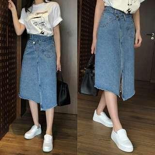不對稱紐扣開叉設計 一片式牛仔半身裙韓國貨 made in korea