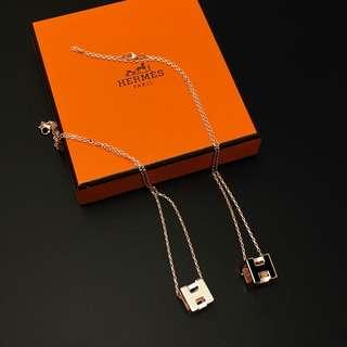 Hermes方型立體pop h頸鏈黑白拼玫瑰金鍊兩色選擇
