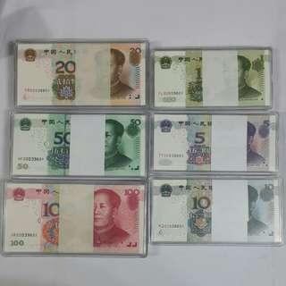 2005年第五版人民币8同號(頂級百連刀)靘号碼早期2冠号豹子頭帶3條6(順順順) 00039601-00039700《投資保值首選》