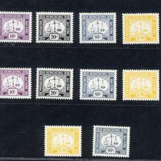 香港 1972-86年 第五組欠資郵票大全套10枚