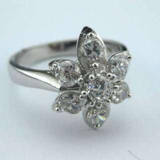 高碳鑽純銀戒指