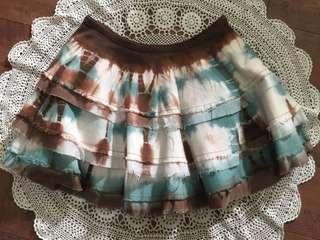 全新IN 咖啡混染牛仔雙層蛋糕裙