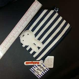 Miffy 拉鍊藍白袋