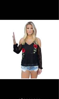 Lace Embroidery Off Shoulder Top