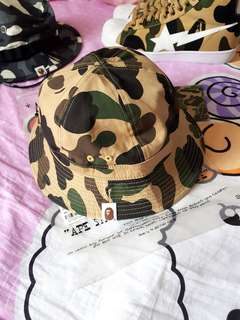 Brand New A Bathing Ape Bape 1st Yellow Camo Bucket Hat.