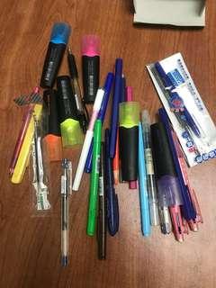 筆 很多筆 無印良品 百樂 hi-tec-c 螢光筆 原子筆 施德樓