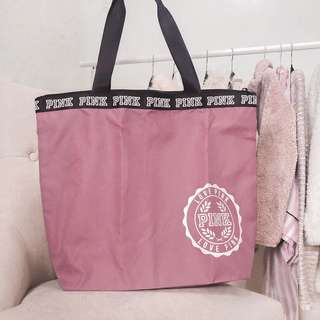 Victorias secret mauve pink bag • logo black details• vs pink accessories