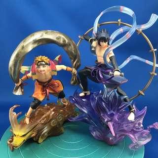 (Set) Naruto Shippuuden -Uzumaki Naruto (Kyuubi) & Uchiha Sasuke (Susanoo ) - G.E.M. Remix -  Fuujin & Raijin (MegaHouse)