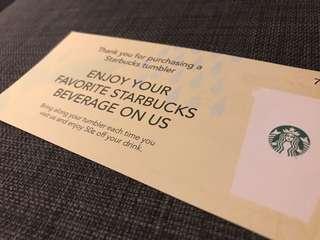 Starbucks message card & envelope w. one drink ticket