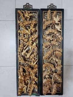 精巧老木雕 四屏 60㎝ 16㎝ Fine wood carving