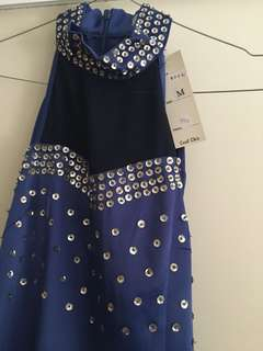 Formal dress - royal blue and silver