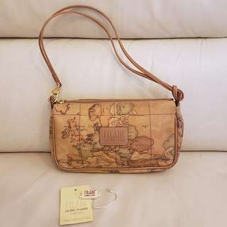 Alvero Martini Classic Leather World Map Handbag