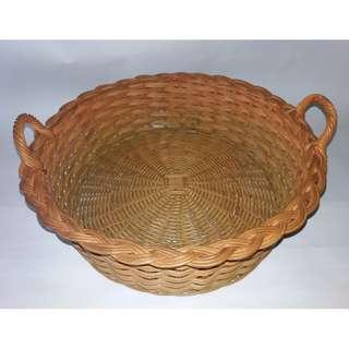 Straw-Coloured Round Woven Basket