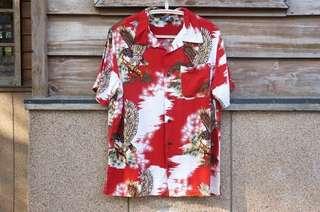 夏威夷衫 古著 ALOHA SHIRT 和柄 老鷹 鷲柄 鷹柄 Rayon Viscose 嫘縈 壁縮緬 真絲
