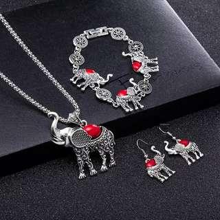 Cute alloy silver elephant pendant necklace earrings bracelets jewelry set