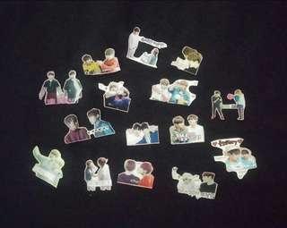 [Postage Free] Wanna One jihoon × woojin 志訓 佑鎮 粉腸團 韓飯製貼紙 stickers × 15粒