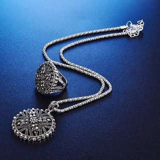 Women flower design antique silver plated pendant necklace earrings ring jewelry set
