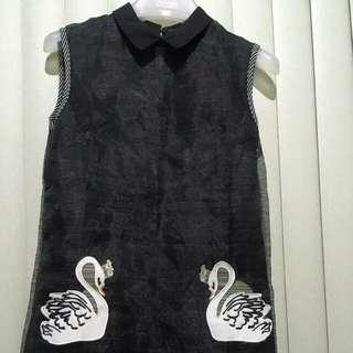 Black shift dress with swan design