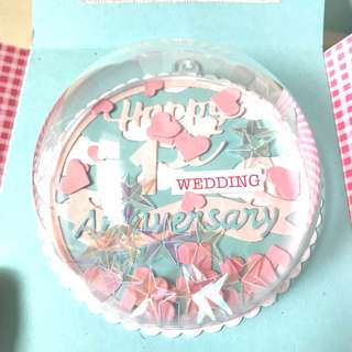 🚚 Happy 1st Wedding Anniversary Shaker globe in pink and blue