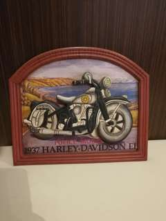Hand painted harley wood painting collectables