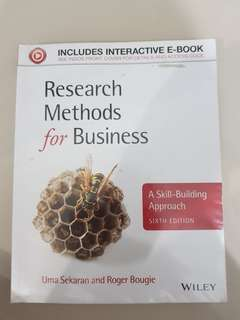Research Methods for Business Wiley Sixth Edition Original
