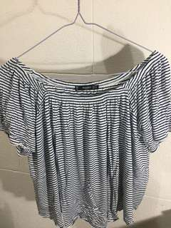 MANGO stripes off shoulder top