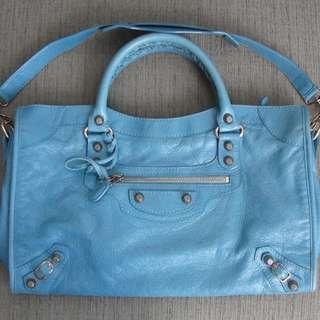 Authentic 2012 Balenciaga Giant 12 City Rose Gold Bag Blue