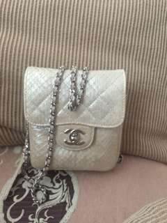 Chanel pearlized python clam pocket willet on chain