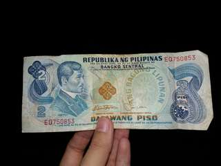Old 2 pesos philippine money