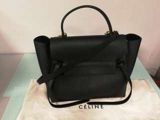 Celine Mini Belt Bag In Grained Calfskin - Black