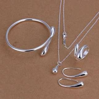 Cute water drop pendant necklace earrings bracelets ring set