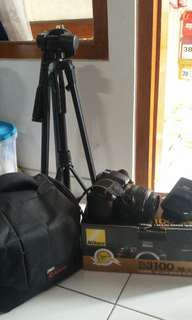 Nikon d3100 Bonus Tas canon ori + tripod + filter lensa